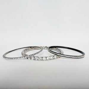 Silver Rhinestone Bangles Set Bundle 3/25 Deal